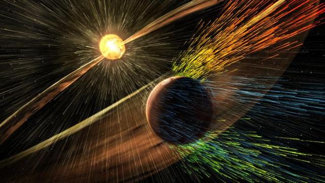 Hình minh họa tác động của bão mặt trời lên sao Hỏa khi các hạt tích điện va chạm với khí quyển.