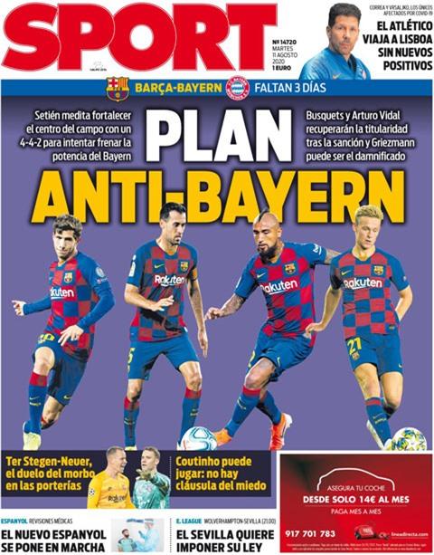 Tờ Sport cho rằng Barca sẽ sử dụng sơ đồ 4-4-2 kim cương để đấu với Bayern