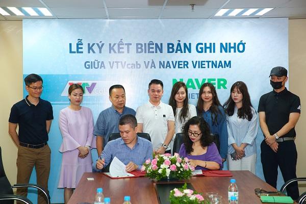 Lãnh đạo VTVcab và Naver Việt Nam ký kết biên bản ghi nhớ vào sáng 12/8/2020.