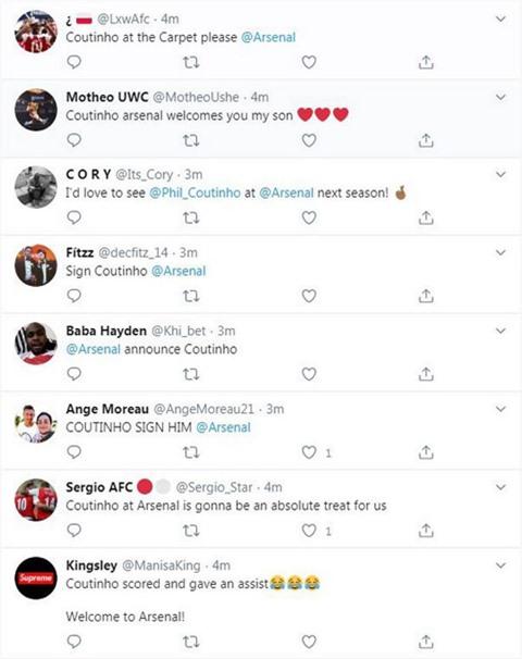 Fan Arsenal kêu gọi Coutinho tới sân Emirates