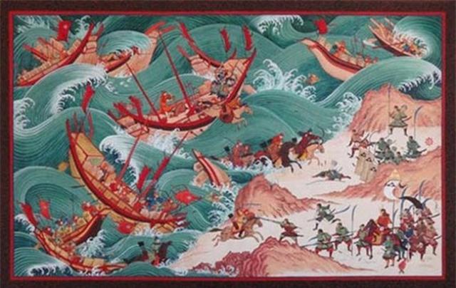 Chiến thuật giả thua rồi đột ngột phản công của quân Mông Cổ được tái hiện qua tranh