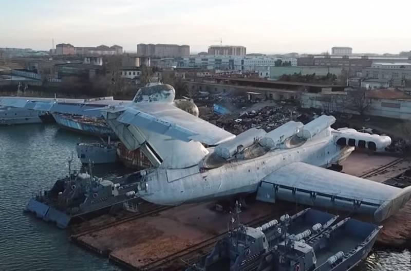 Chiếc ekranoplan mang tên lửa lớp Lun bắt đầu được đưa về công viên Patriot. Ảnh: TASS.