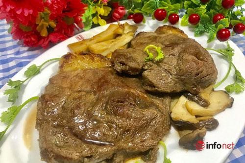 Thịt bò áp chảo thơm ngon đổi món cho ngày cuối tuần.