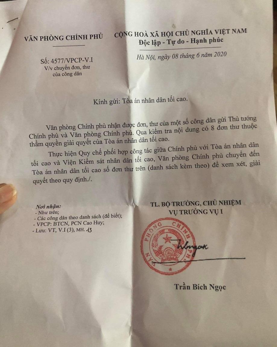 Văn bản chuyển đơn thư của Văn phòng Chính phủ liên quan đến vụ án ma túy ở Sơn La.