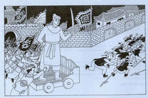 Tranh vẽ mô tả binh lính nhà Tần đẩy tượng Lý Ông Trọng đuổi quân Hung Nô. Nguồn: Huyền sử đời Hùng.