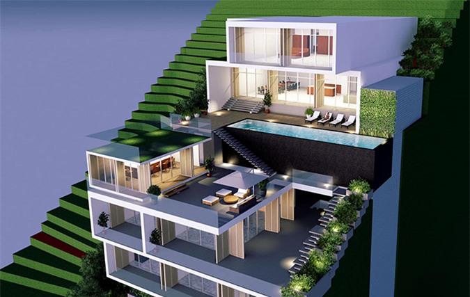 Chi Bảo tiết lộ ảnh phối cảnh một trong các biệt thự anh đang xây trong khu resort 5 sao tại Côn Đảo. Các villa sẽ có địa thế lưng tựa núi, mặt hướng biển nhìn rất ấn tượng.
