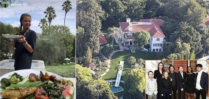 Cháu gái của Brad Pitt (trái) cùng các anh chị và bà nội đến thăm nhà Jolie cuối tuần trước.