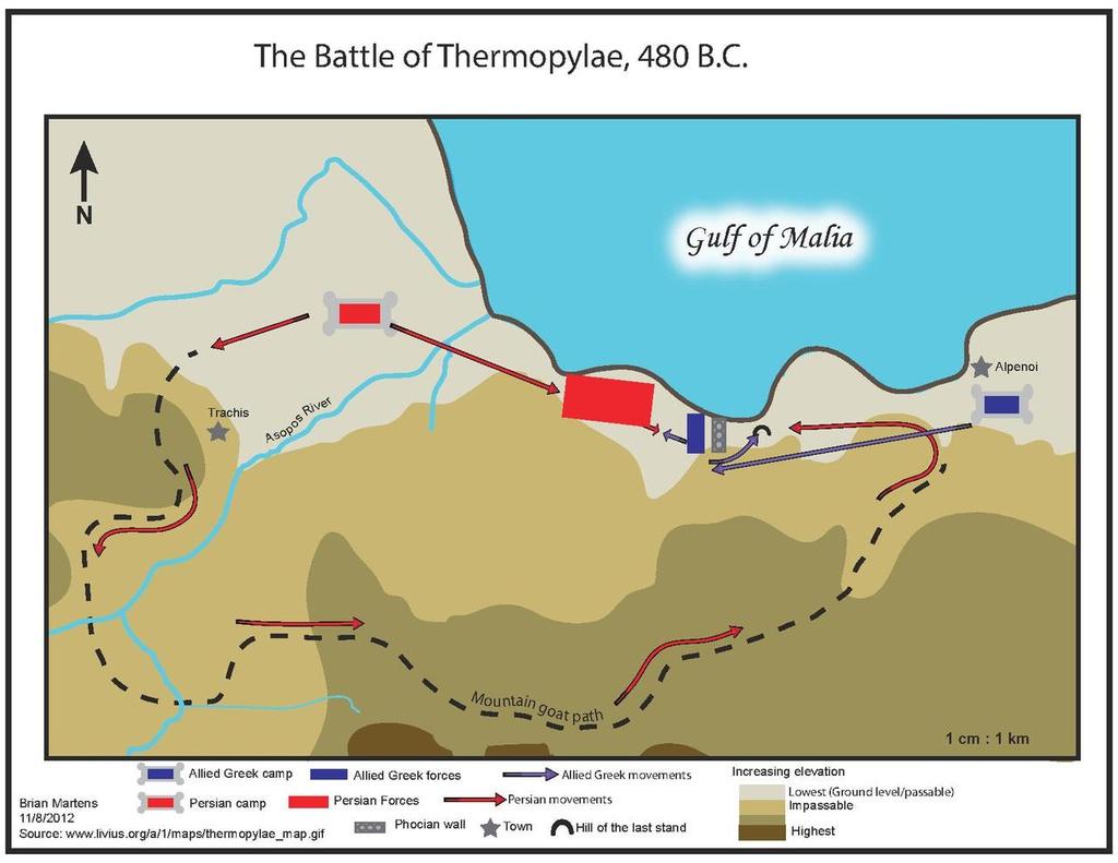 Trận đánh nổi tiếng này diễn ra năm 480 TCN. Ảnh: ThingLink.