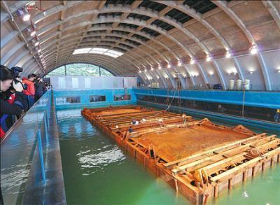 """Xác tàu đang nằm trong bảo tàng """"Con đường tơ lụa trên biển"""" ở tỉnh Quảng Đông"""