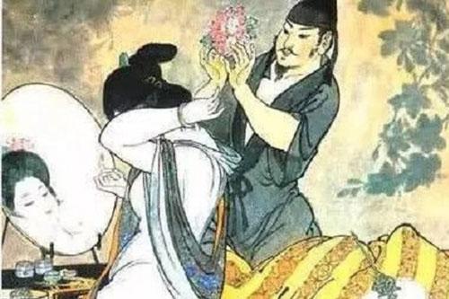 Tranh vẽ Hồ Thị và Hòa Sỹ Khai