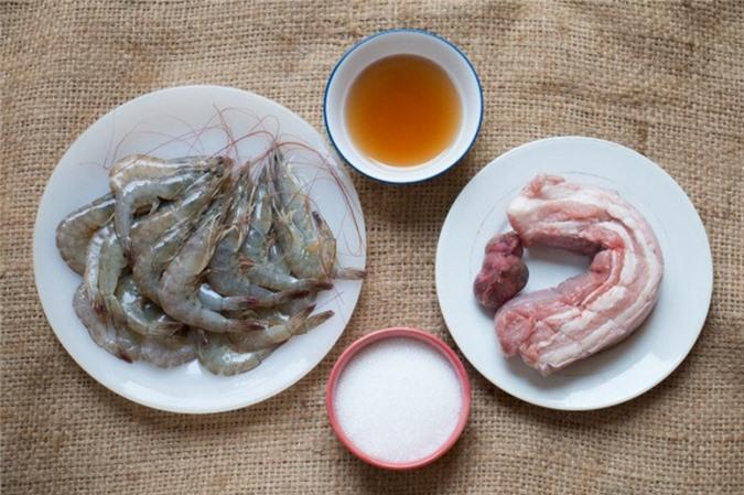 Nguyên liệu nấu món tôm thịt ba chỉ