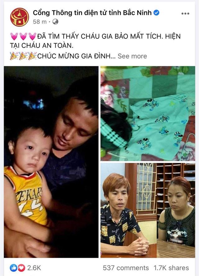 Đã tìm thấy bé 2 tuổi bị bắt cóc ở Bắc Ninh - Ảnh 1.