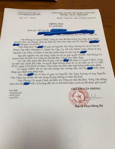 CA tỉnh BRVT coi việc sử dụng giấy tờ giả là dân sự!