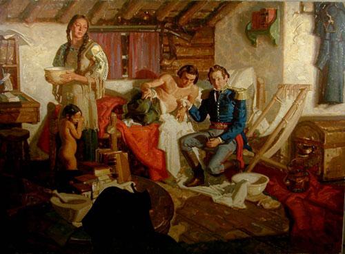 Tranh sơn dầu mô tả William Beaumont và Alexis St. Martin của họa sĩ Dean Cornwell.