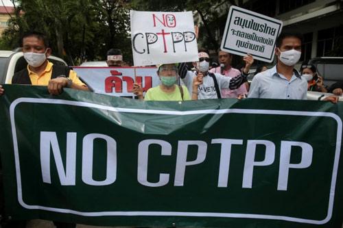 Các nhóm dân sự ở Thái Lan biểu tình phản đối kế hoạch gia nhập Hiệp định CPTPP của Chính phủ nước này hôm 14/7. Ảnh: Bangkok Post.