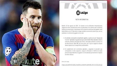 La Liga phán quyết Messi không được phép tự do rời Barca