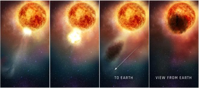 Hình ảnh mô phỏng quá trình plasma siêu nóng phóng ra từ bề mặt Betelgeuse. (Ảnh: STScI)