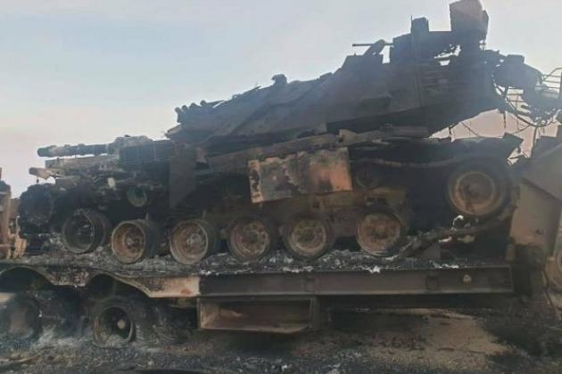 Xe tăng Thổ Nhĩ Kỳ bị phá hủy tại Syria. Ảnh: Avia-pro.