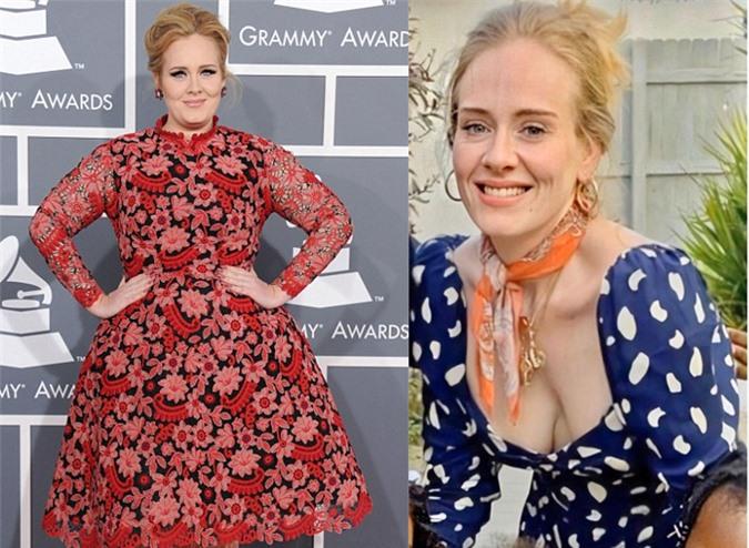 Adele khi vẫn tròn trịa và lúc đầu giảm cân vào mùa thu năm ngoái (phải).
