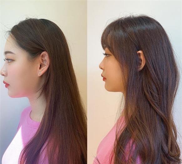 Cô nàng này có gò má khá đầy đặn nhưng sau khi F5 với tóc mái thưa và vén tóc khéo léo đã lột xác hơn rất nhiều.. Chưa kể, gương mặt còn được cộng điểm thần thái, khác biệt chỉ từ kiểu mái mà ra. Như vậy là bạn đủ hiểu sức mạnh của tóc mái rồi đấy.