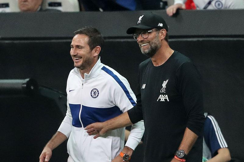 Lampard (trái) và Klopp.