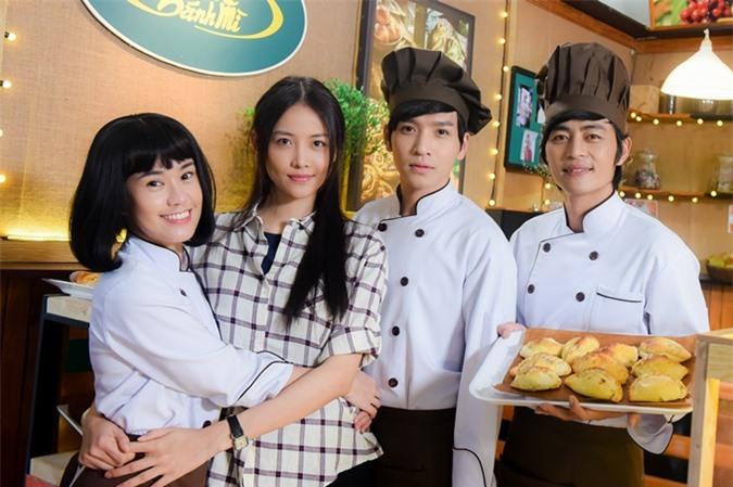 Bốn diễn viên chính của phim Vua bánh mỳ (từ trái qua): Ngọc Thảo, Trương Mỹ Nhân, Bạch Công Khanh, Quốc Huy.