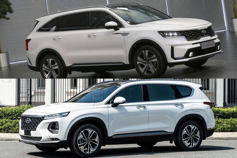 Kia Sorento 2021 và Hyundai Santa Fe (dưới).