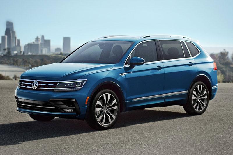 9. Volkswagen Tiguan 2020 (giá khởi điểm: 24.945 USD, số chỗ ngồi tối đa: 7).