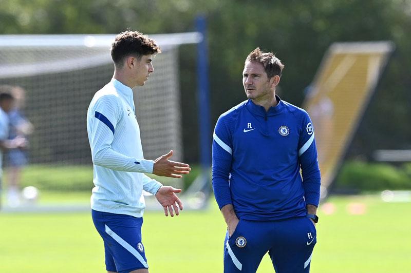 Havertz và HLV Lampard.
