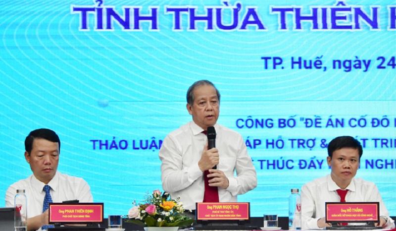Chủ tịch UBND tỉnh Thừa Thiên Huế Phan Ngọc Thọ phát biểu tại diễn đàn.