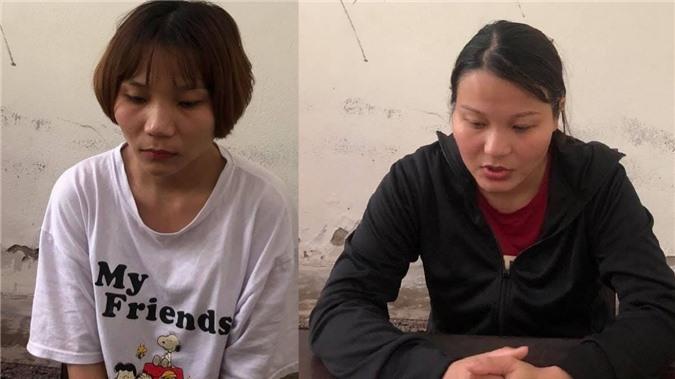 Uông Thị Trang và em gái Uông Thị Mai tại cơ quan điều tra.