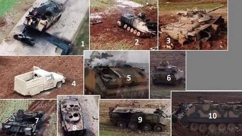 Những xe thiết giáp theo chú thích là của Quân đội Thổ Nhĩ Kỳ bị tiêu diệt. Ảnh: Avia-pro.