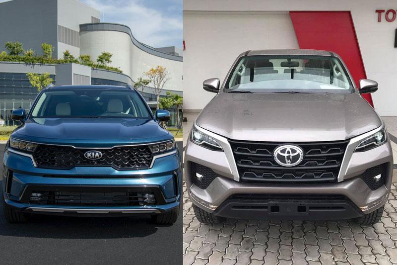 So sánh giá lăn bánh Kia Sorento 2021 với Toyota Fortuner 2021