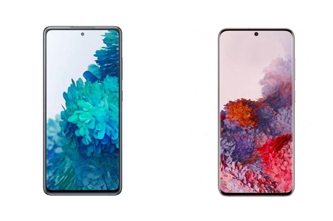 Samsung Galaxy S20 FE (bên trái) và Galaxy S20 (bên phải)