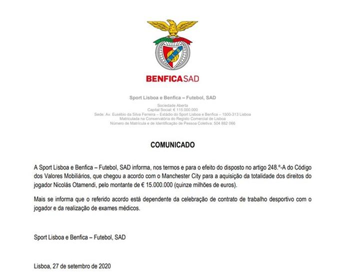 Benfica thông báo mua Otamendi từ Man City với giá 15 triệu euro