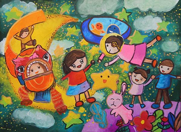 """""""Trung thu của em"""" - Tranh của cháu Đỗ Quỳnh Anh, 8 tuổi"""