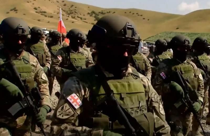 Binh sĩ Gruzia sẽ nhận vũ khí cá nhân theo tiêu chuẩn tương đương với Mỹ. Ảnh: TASS.