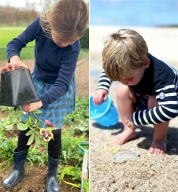 Công chúa George trồng hoa còn em trai Louis nô đùa với cát trên bãi biển. Ảnh: ITV.