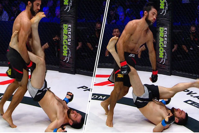 Lom-Ali Nalgiev ra đòn hạ knock-out Imanali Gamzatkhanov.