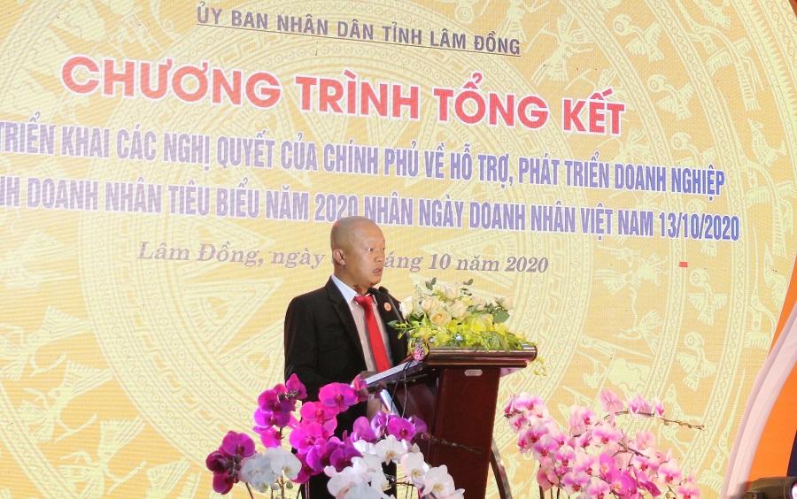 Chủ tịch Hội Doanh nhân trẻ tỉnh Lâm Đồng Phạm Nguyễn Ngọc Duy phát biểu tại chương trình.