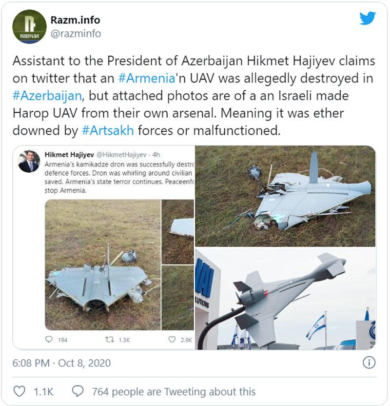 """Azerbaijan có thể bắn rơi UAV của chính mình sau khi khoe khoang """"hạ"""" máy bay Armenia !"""