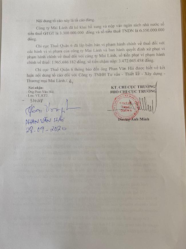 Văn bản do Phó Chi cục trưởng Chi cục Thuế quận 6 Dương Anh Minh ký khẳng định Công ty Mai Lành có nhiều vi phạm, bị xử phạt hành chính, truy thu thuế chậm nộp... lên đến hơn 15 tỉ đồng.