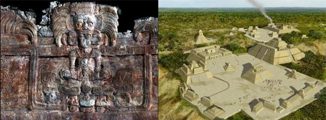 Bức phù điêu 1.400 năm tuổi và hình ảnh mô phỏng thành phố cổ Homul của người Maya. Ảnh: Ancientpages
