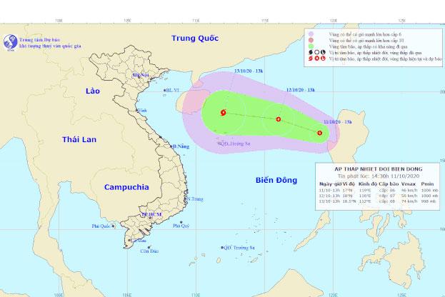 Vị trí và đường đi của áp thấp nhiệt đới mới. Ảnh: NCHMF.