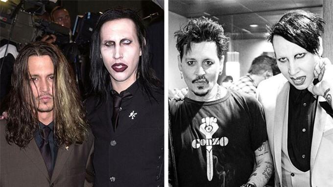Rocker Marilyn Manson và tài tử Johnny Depp thân nhau từ năm 1999. Họ có hình xăm đôi ở lưng và hợp cạ từ niềm đam mê nhạc rock tới sở thích chè chén. Marilyn nhận làm cha đỡ đầu con gái Lily-Rose của Johnny Depp. Khi Johnny Depp ly hôn diễn viên Amber Heard và vướng tai tiếng bạo lực gia đình, rocker không ngần ngại lên tiếng bảo vệ bạn thân. Johnny là một trong những người dễ thương nhất mà tôi biết. Và tôi biết anh ấy đã hoàn toàn bị đối xử bất công! Tôi sẽ đứng bên anh ấy trong bất cứ hoàn cảnh nào, Marilyn phát biểu năm 2016.