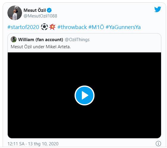 Status của Ozil trên trang Twitter cá nhân.
