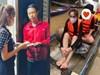Thủy Tiên ngồi xuồng đi cứu trợ người dân Huế
