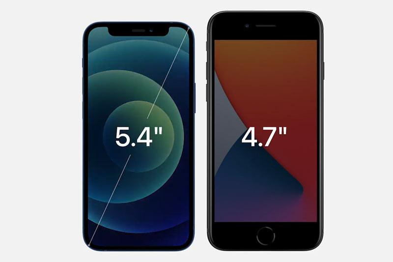 Màn hình của iPhone 12 Mini so với iPhone SE 2020.