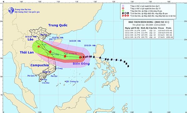 Dự báo của Trung tâm Khí tượng thủy văn quốc gia lúc 5h sáng 13/11 về hướng di chuyển của bão số 13