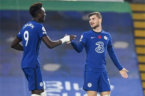 Abraham và Werner hỗ trợ nhau để giúp hàng công Chelsea thêm bùng nổ